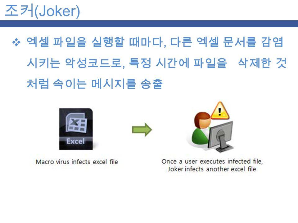 조커 (Joker)  엑셀 파일을 실행할 때마다, 다른 엑셀 문서를 감염 시키는 악성코드로, 특정 시간에 파일을 삭제한 것 처럼 속이는 메시지를 송출