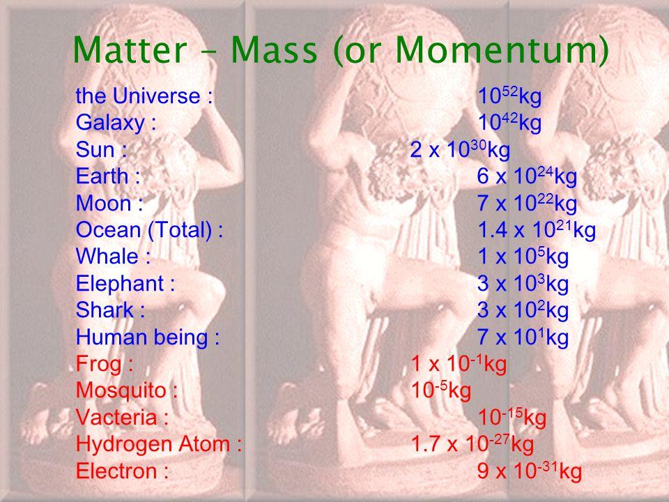 In-Kwon YOO 2007 년 여름 여고생물리캠프 27 Matter – Mass (or Momentum) the Universe : 10 52 kg Galaxy : 10 42 kg Sun : 2 x 10 30 kg Earth : 6 x 10 24 kg Moon : 7 x 10 22 kg Ocean (Total) :1.4 x 10 21 kg Whale :1 x 10 5 kg Elephant :3 x 10 3 kg Shark : 3 x 10 2 kg Human being : 7 x 10 1 kg Frog : 1 x 10 -1 kg Mosquito : 10 -5 kg Vacteria : 10 -15 kg Hydrogen Atom : 1.7 x 10 -27 kg Electron : 9 x 10 -31 kg