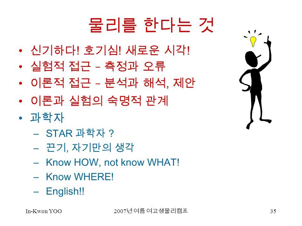 In-Kwon YOO 2007 년 여름 여고생물리캠프 35 물리를 한다는 것 신기하다 . 호기심 .