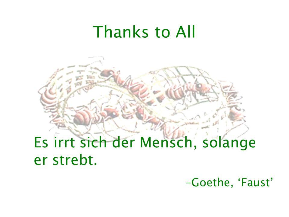 Thanks to All Es irrt sich der Mensch, solange er strebt. -Goethe, 'Faust'