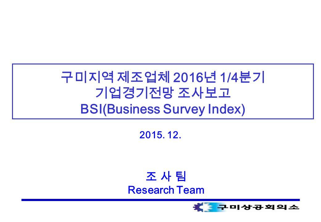 구미지역 제조업체 2016 년 1/4 분기 기업경기전망 조사보고 BSI(Business Survey Index) 2015. 12. 조 사 팀 Research Team