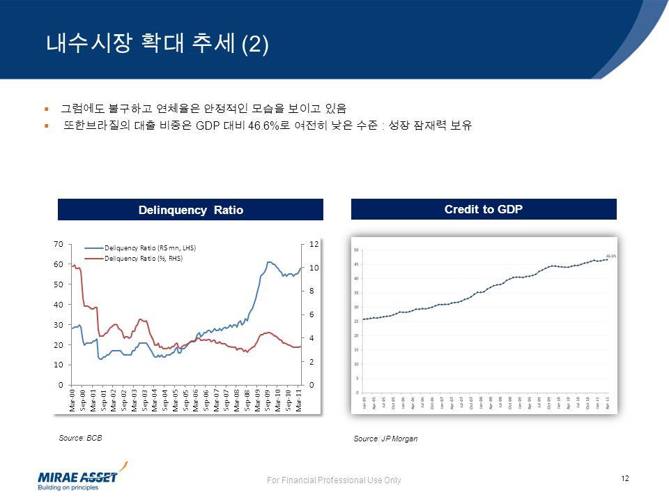 12 For Financial Professional Use Only  그럼에도 불구하고 연체율은 안정적인 모습을 보이고 있음  또한브라질의 대출 비중은 GDP 대비 46.6% 로 여전히 낮은 수준 : 성장 잠재력 보유 Source: BCB Delinquency Ratio Source: JP Morgan Credit to GDP 내수시장 확대 추세 (2)