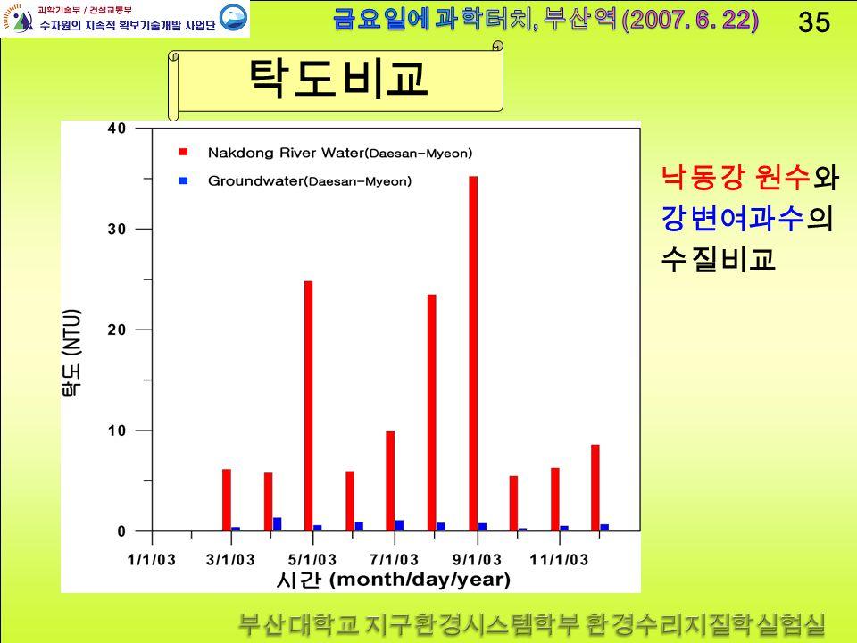 35 탁도비교 낙동강 원수와 강변여과수의 수질비교