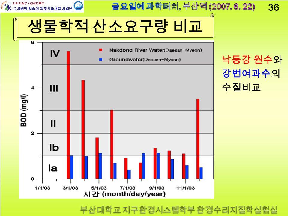 36 생물학적 산소요구량 비교 낙동강 원수와 강변여과수의 수질비교