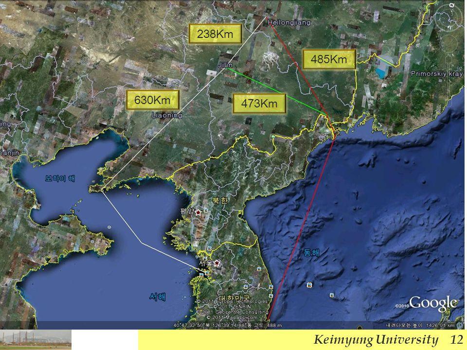Keimyung University 12 485Km 238Km 630Km 473Km