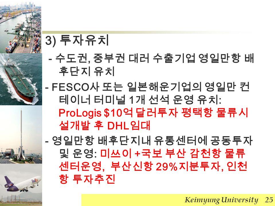 3) 투자유치 - 수도권, 중부권 대러 수출기업 영일만항 배 후단지 유치 - FESCO 사 또는 일본해운기업의 영일만 컨 테이너 터미널 1 개 선석 운영 유치 : ProLogis $10 억 달러투자 평택항 물류시 설개발 후 DHL 임대 - 영일만항 배후단지내 유통센터에 공동투자 및 운영 : 미쓰이 + 국보 부산 감천항 물류 센터운영, 부산신항 29% 지분투자, 인천 항 투자추진 Keimyung University 25