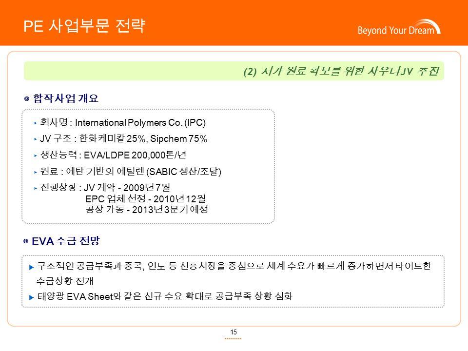 15 ◎ 합작사업 개요 (2) 저가 원료 확보를 위한 사우디 JV 추진 ▶ 회사명 : International Polymers Co.
