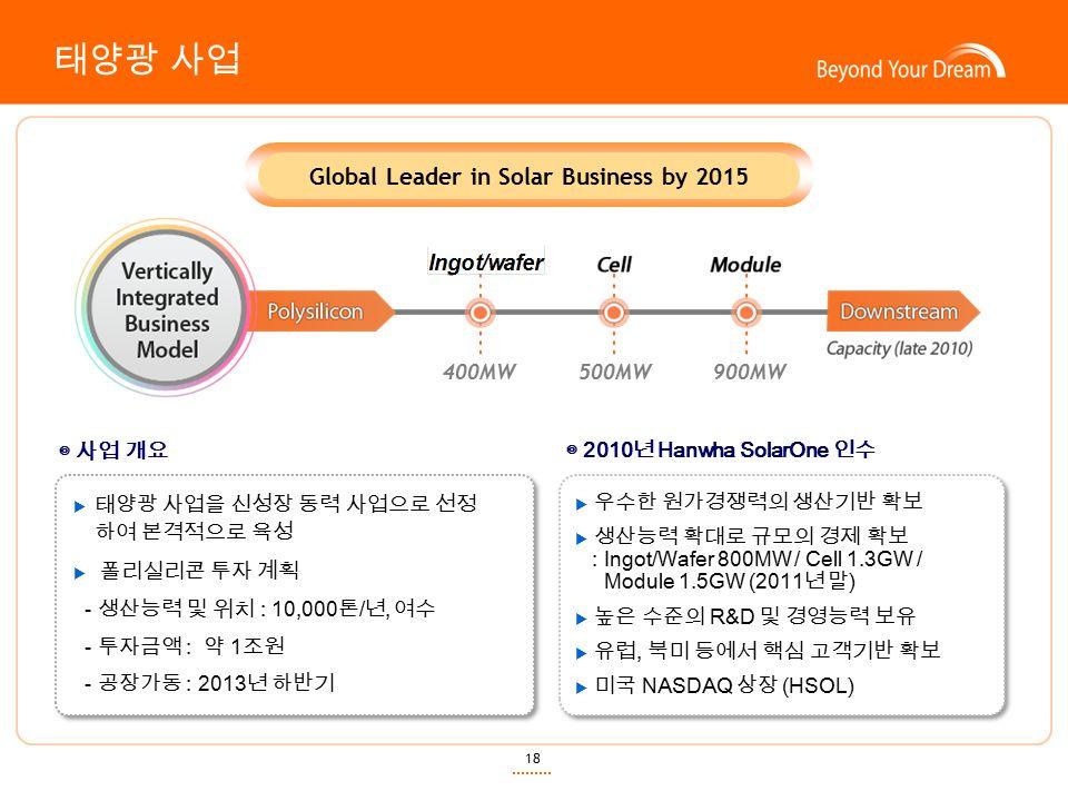 18 태양광 사업 Global Leader in Solar Business by 2015 ◎ 사업 개요  태양광 사업을 신성장 동력 사업으로 선정 하여 본격적으로 육성  폴리실리콘 투자 계획 - 생산능력 및 위치 : 10,000 톤 / 년, 여수 - 투자금액 : 약 1 조원 - 공장가동 : 2013 년 하반기 ◎ 2010 년 Hanwha SolarOne 인수  우수한 원가경쟁력의 생산기반 확보  생산능력 확대로 규모의 경제 확보 : Ingot/Wafer 800MW / Cell 1.3GW / Module 1.5GW (2011 년 말 )  높은 수준의 R&D 및 경영능력 보유  유럽, 북미 등에서 핵심 고객기반 확보  미국 NASDAQ 상장 (HSOL)  우수한 원가경쟁력의 생산기반 확보  생산능력 확대로 규모의 경제 확보 : Ingot/Wafer 800MW / Cell 1.3GW / Module 1.5GW (2011 년 말 )  높은 수준의 R&D 및 경영능력 보유  유럽, 북미 등에서 핵심 고객기반 확보  미국 NASDAQ 상장 (HSOL) 400MW 500MW 900MW