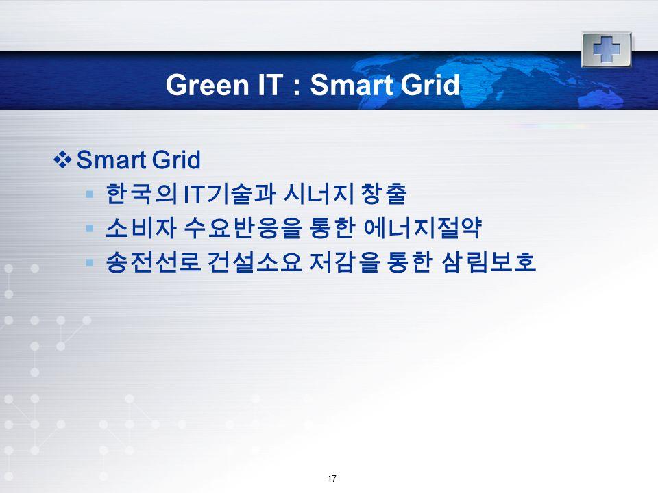 17 Green IT : Smart Grid  Smart Grid  한국의 IT 기술과 시너지 창출  소비자 수요반응을 통한 에너지절약  송전선로 건설소요 저감을 통한 삼림보호