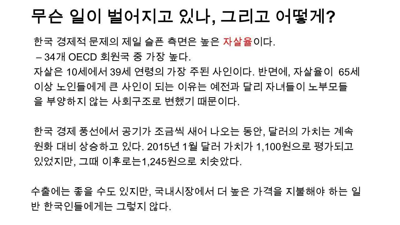 무슨 일이 벌어지고 있나, 그리고 어떻게 . 한국 경제적 문제의 제일 슬픈 측면은 높은 자살율이다.