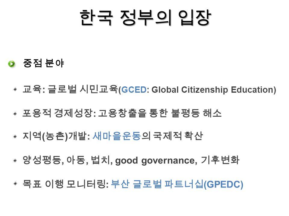 한국 정부의 입장 교육 : 글로벌 시민교육 (GCED: Global Citizenship Education) 중점 분야 포용적 경제성장 : 고용창출을 통한 불평등 해소 목표 이행 모니터링 : 부산 글로벌 파트너십 (GPEDC) 지역 ( 농촌 ) 개발 : 새마을운동의 국제적 확산 양성평등, 아동, 법치, good governance, 기후변화