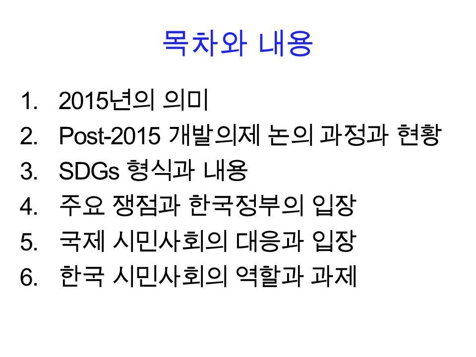목차와 내용 1.2015 년의 의미 2.Post-2015 개발의제 논의 과정과 현황 3.SDGs 형식과 내용 4.