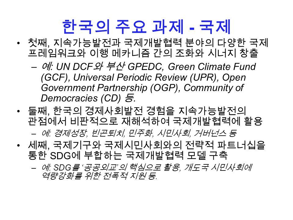 한국의 주요 과제 - 국제 첫째, 지속가능발전과 국제개발협력 분야의 다양한 국제 프레임워크와 이행 메카니즘 간의 조화와 시너지 창출 – 예 : UN DCF 와 부산 GPEDC, Green Climate Fund (GCF), Universal Periodic Review (UPR), Open Government Partnership (OGP), Community of Democracies (CD) 등.