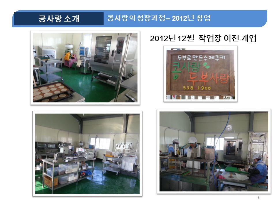 6 2012 년 12 월 작업장 이전 개업 콩사랑의 성장과정 – 2012 년 창업 콩사랑 소개