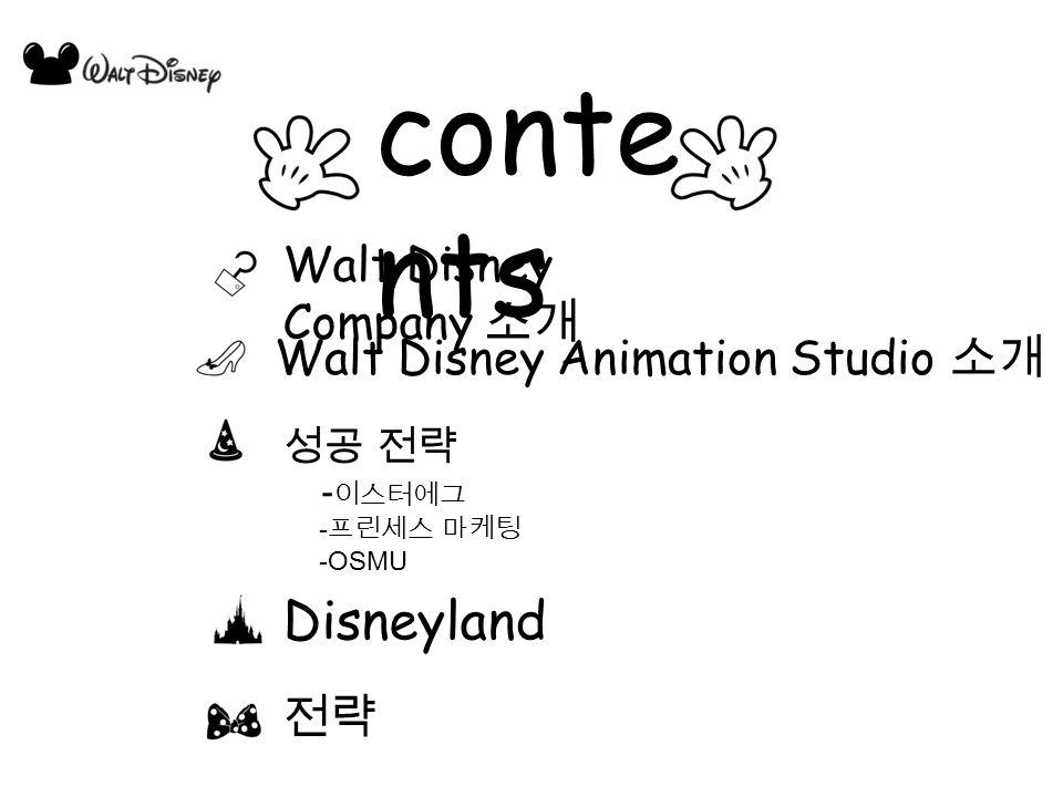 conte nts Disneyland Walt Disney Company 소개 Walt Disney Animation Studio 소개 성공 전략 - 이스터에그 - 프린세스 마케팅 -OSMU 전략