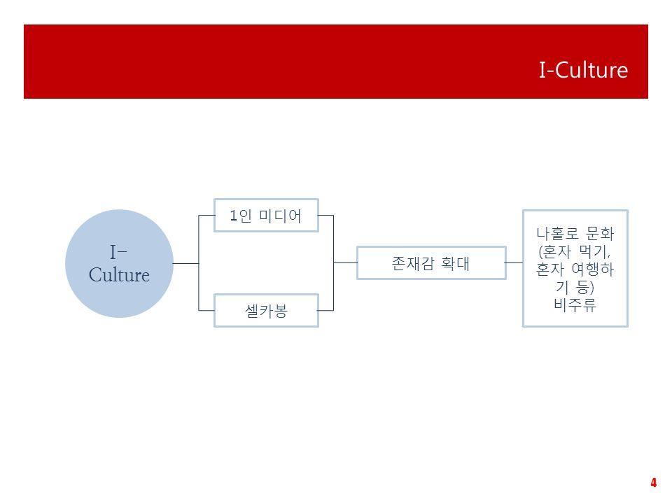 4 I-Culture I- Culture 1인 미디어 셀카봉 존재감 확대 나홀로 문화 (혼자 먹기, 혼자 여행하 기 등) 비주류