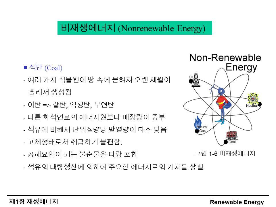Renewable Energy 제 1 장 재생에너지 비재생에너지 (Nonrenewable Energy) ■ 석탄 (Coal) - 여러 가지 식물원이 땅 속에 묻혀져 오랜 세월이 흘러서 생성됨 - 이탄 => 갈탄, 역청탄, 무연탄 - 다른 화석연료의 에너지원보다 매장량이 풍부 - 석유에 비해서 단위질량당 발열량이 다소 낮음 - 고체형태로서 취급하기 불편함.