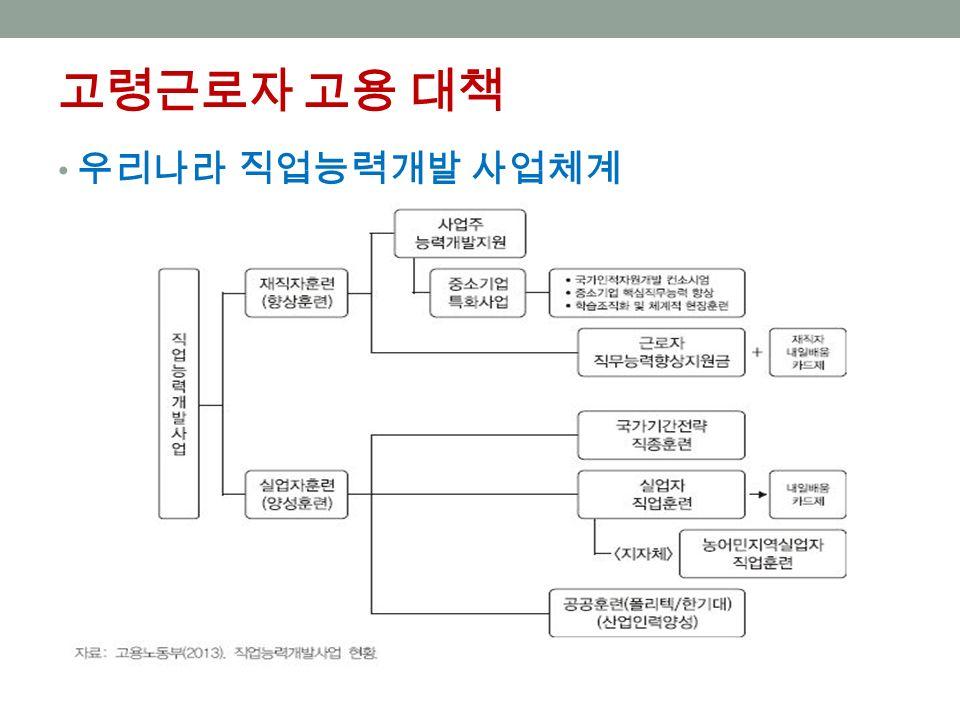 고령근로자 고용 대책 우리나라 직업능력개발 사업체계