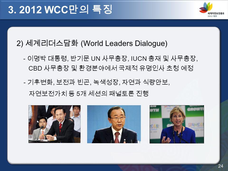 2) 세계리더스담화 (World Leaders Dialogue) - 이명박 대통령, 반기문 UN 사무총장, IUCN 총재 및 사무총장, CBD 사무총장 및 환경분야에서 국제적 유명인사 초청 예정 - 기후변화, 보전과 빈곤, 녹색성장, 자연과 식량안보, 자연보전가치 등 5 개 세션의 패널토론 진행