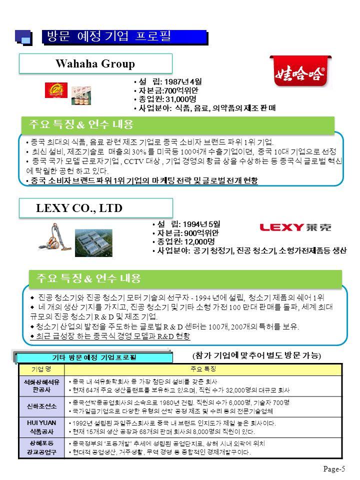 0101 Wahaha Group 주요 특징 & 연수 내용 중국 최대의 식품, 음료 관련 제조 기업로 중국 소비자 브랜드 파위 1 위 기업.