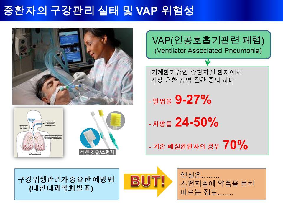 중환자의 구강관리 실태 및 VAP 위험성 - 기계환기중인 중환자실 환자에서 가장 흔한 감염 질환 중의 하나 - 발병율 9-27% - 사망률 24-50% - 기존 폐질환환자의 경우 70% VAP( 인공호흡기관련 폐렴 ) (Ventilator Associated Pneumonia) 구강위생관리가 중요한 예방법 ( 대한내과학회 발표 ) 현실은 ……..