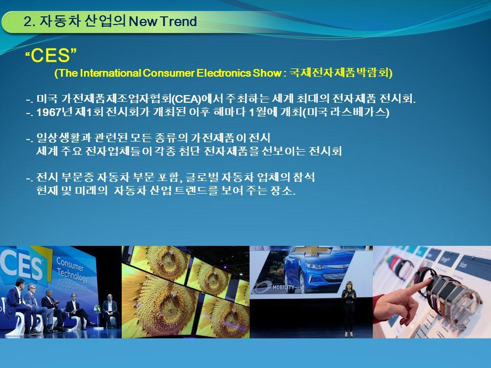 CES (The International Consumer Electronics Show : 국제전자제품박람회 ) -.