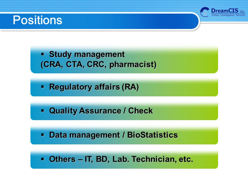 Positions  Study management (CRA, CTA, CRC, pharmacist)  Regulatory affairs (RA)  Quality Assurance / Check  Data management / BioStatistics  Others – IT, BD, Lab.