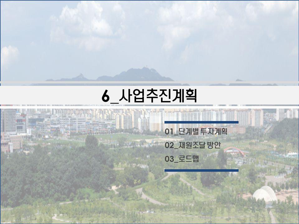 6_ 사업추진계획 01_ 단계별 투자계획 02_ 재원조달 방안 03_ 로드맵