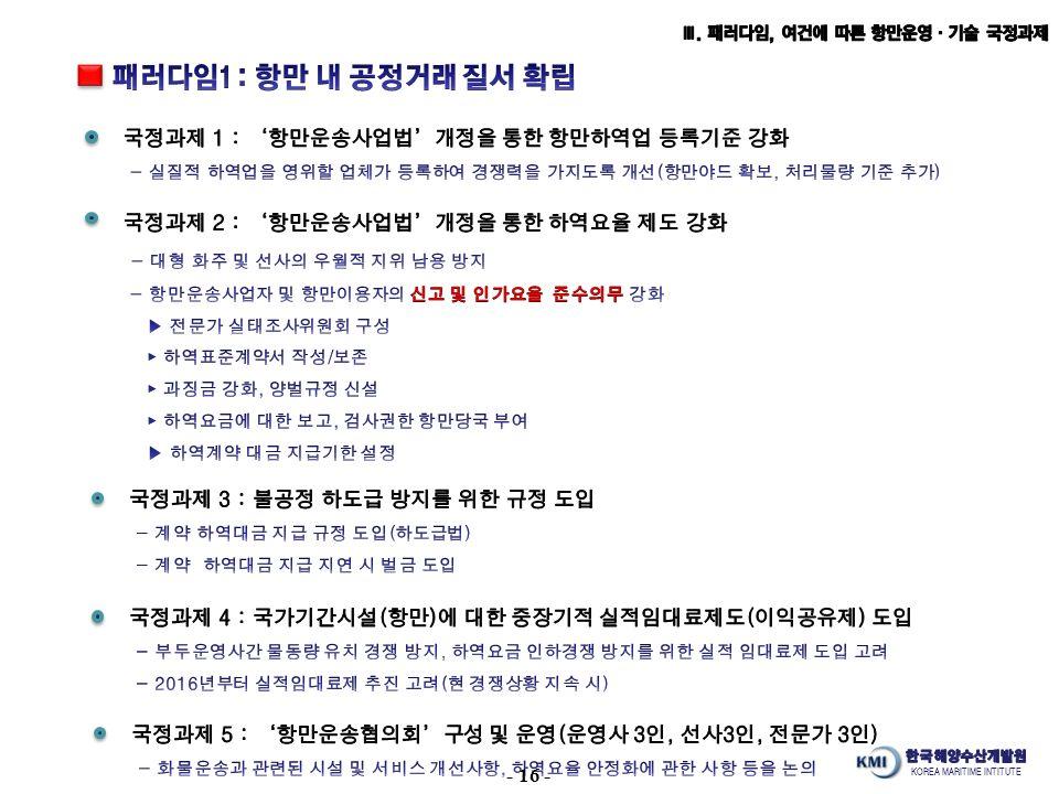 KOREA MARITIME INTITUTE - 16 -