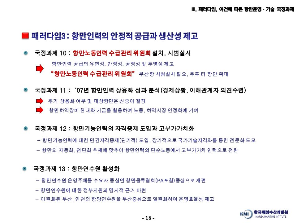 KOREA MARITIME INTITUTE - 18 -