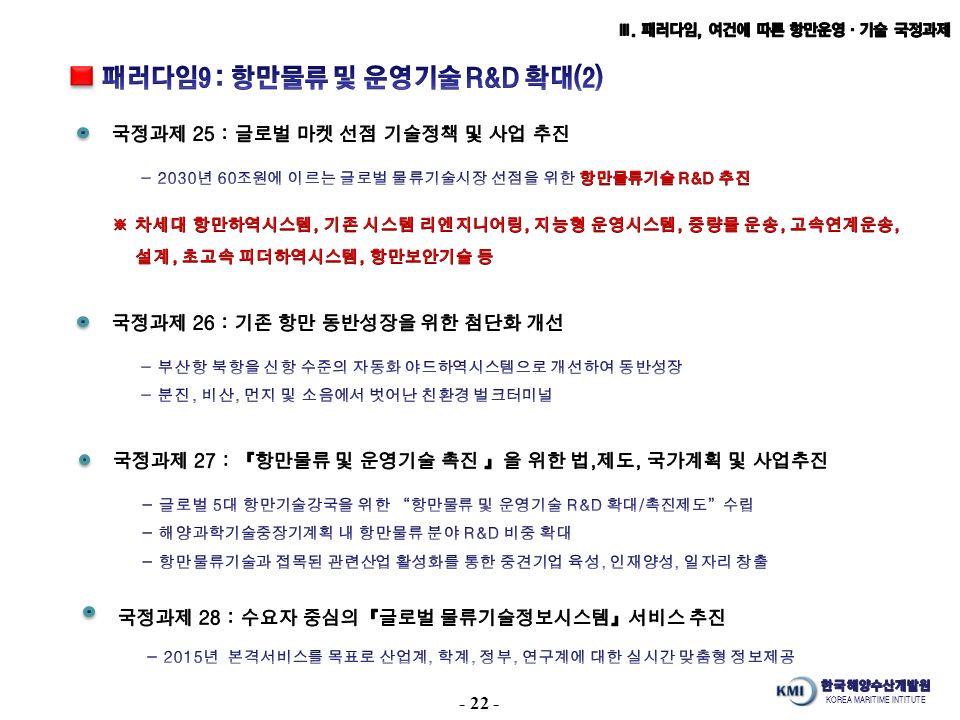 KOREA MARITIME INTITUTE - 22 -