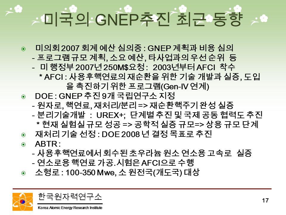 한국원자력연구소 Korea Atomic Energy Research Institute 17 미국의 GNEP 추진 최근 동향  미의회 2007 회계 예산 심의중 : GNEP 계획과 비용 심의 - 프로그램 규모 계획, 소요 예산, 타사업과의 우선 순위 등 - 미 행정부 2007 년 250M$ 요청 : 2003 년부터 AFCI 착수 * AFCI : 사용후핵연료의 재순환을 위한 기술 개발과 실증, 도입 을 촉진하기 위한 프로그램 (Gen-IV 연계 )  DOE : GNEP 추진 9 개 국립연구소 지정 - 원자로, 핵연료, 재처리 / 분리 => 재순환핵주기 완성 실증 - 분리기술개발 : UREX+; 단계별 추진 및 국제 공동 협력도 추진 * 현재 실험실 규모 성공 => 공학적 실증 규모 => 상용 규모 단계  재처리 기술 선정 : DOE 2008 년 결정 목표로 추진  ABTR : - 사용후핵연료에서 회수된 초우라늄 원소 연소용 고속로 실증 - 연소로용 핵연료 가공.