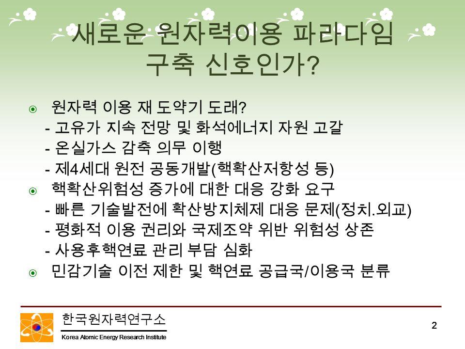 한국원자력연구소 Korea Atomic Energy Research Institute 2 새로운 원자력이용 파라다임 구축 신호인가 .