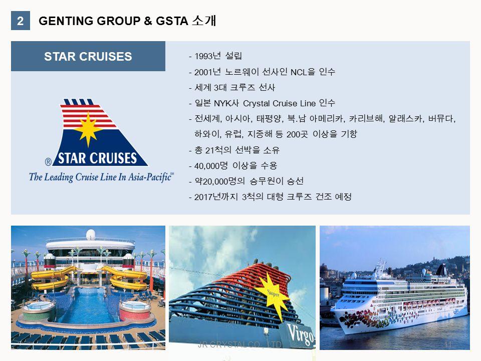 2 GENTING GROUP & GSTA 소개 STAR CRUISES - 1993 년 설립 - 2001 년 노르웨이 선사인 NCL 을 인수 - 세계 3 대 크루즈 선사 - 일본 NYK 사 Crystal Cruise Line 인수 - 전세계, 아시아, 태평양, 북.