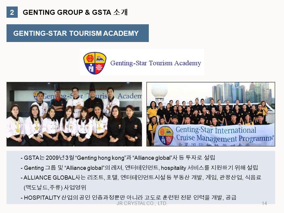 2 GENTING GROUP & GSTA 소개 GENTING-STAR TOURISM ACADEMY - GSTA 는 2009 년 3 월 Genting hong kong 과 Alliance global 사 등 투자로 설립 - Genting 그룹 및 Alliance global 의 레져, 엔터테인먼트, hospitality 서비스를 지원하기 위해 설립 - ALLIANCE GLOBAL 사는 리조트, 호텔, 엔터테인먼트시설 등 부동산 개발, 게임, 관광산업, 식음료 ( 맥도날드, 주류 ) 사업영위 - HOSPITALITY 산업의 공인 인증과정뿐만 아니라 고도로 훈련된 전문 인력을 개발, 공급 14JR CRYSTAL CO., LTD.
