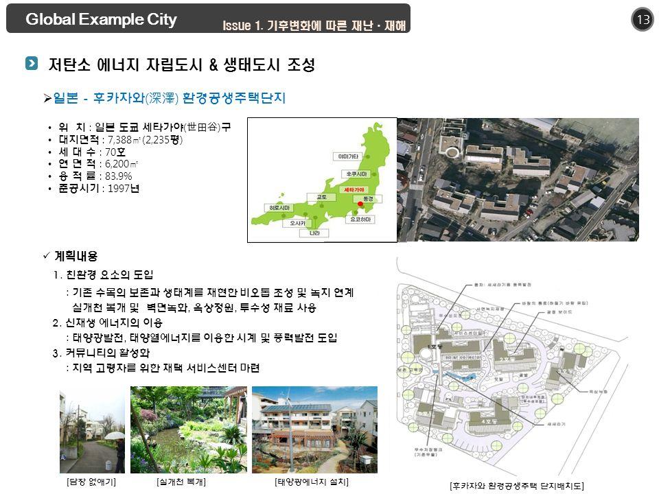 13  일본 - 후카자와 ( 深澤 ) 환경공생주택단지 Global Example City 위 치 : 일본 도쿄 세타가야 ( 世田谷 ) 구 대지면적 : 7,388 ㎡ (2,235 평 ) 세 대 수 : 70 호 연 면 적 : 6,200 ㎡ 용 적 률 : 83.9% 준공시기 : 1997 년 계획내용 1.