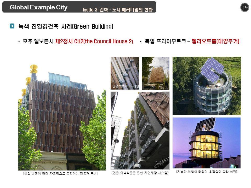 19 호주 멜보른시 제2청사 CH2(the Council House 2 ) [ 해의 방향에 따라 자동적으로 움직이는 폐목재 루버 ] [ 건물 외벽식물을 통한 자연채광 시스템 ] 건물 외벽파이프라인 Global Example City 녹색 친환경건축 사례(Green Building) 독일 프라이부르크 - 헬리오트롭(태양주거] Issue 3.