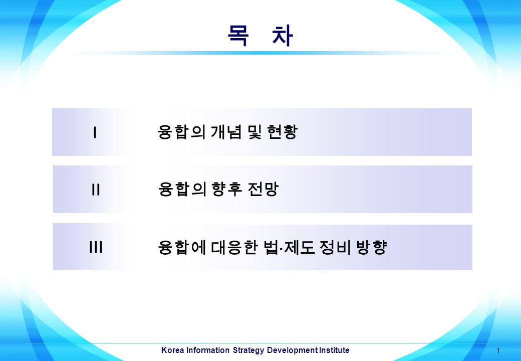 Korea Information Strategy Development Institute 1 목 차 I 융합의 개념 및 현황 II 융합의 향후 전망 III 융합에 대응한 법  제도 정비 방향