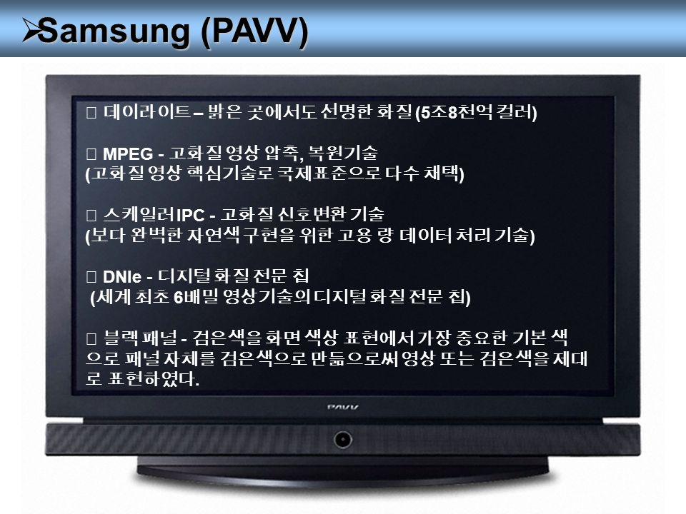  Samsung (PAVV) ◎ 데이라이트 – 밝은 곳에서도 선명한 화질 (5 조 8 천억 컬러 ) ◎ MPEG - 고화질 영상 압축, 복원기술 ( 고화질 영상 핵심기술로 국제표준으로 다수 채택 ) ◎ 스케일러 IPC - 고화질 신호변환 기술 ( 보다 완벽한 자연색 구현을 위한 고용 량 데이터 처리 기술 ) ◎ DNIe - 디지털 화질 전문 칩 ( 세계 최초 6 배밀 영상기술의 디지털 화질 전문 칩 ) ◎ 블랙 패널 - 검은색을 화면 색상 표현에서 가장 중요한 기본 색 으로 패널 자체를 검은색으로 만듦으로써 영상 또는 검은색을 제대 로 표현하였다.