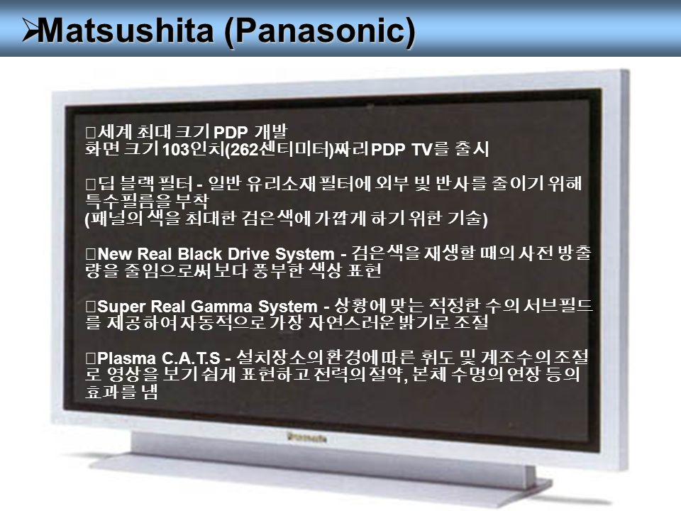  Matsushita (Panasonic) ◎세계 최대 크기 PDP 개발 화면 크기 103 인치 (262 센티미터 ) 짜리 PDP TV 를 출시 ◎딥 블랙 필터 - 일반 유리소재 필터에 외부 빛 반사를 줄이기 위해 특수필름을 부착 ( 패널의 색을 최대한 검은색에 가깝게 하기 위한 기술 ) ◎ New Real Black Drive System - 검은색을 재생할 때의 사전 방출 량을 줄임으로써 보다 풍부한 색상 표현 ◎ Super Real Gamma System - 상황에 맞는 적정한 수의 서브필드 를 제공하여 자동적으로 가장 자연스러운 밝기로 조절 ◎ Plasma C.A.T.S - 설치장소의 환경에 따른 휘도 및 계조수의 조절 로 영상을 보기 쉽게 표현하고 전력의 절약, 본체 수명의 연장 등의 효과를 냄