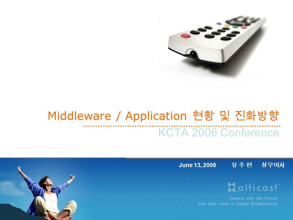 Middleware / Application 현황 및 진화방향 KCTA 2006 Conference June 13, 2006 유 주 현 상무이사