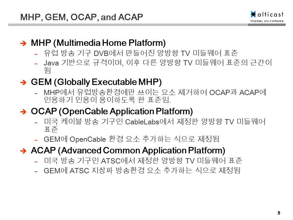 Proprietary and Confidential 8 MHP, GEM, OCAP, and ACAP  MHP (Multimedia Home Platform) – 유럽 방송 기구 DVB 에서 만들어진 양방향 TV 미들웨어 표준 – Java 기반으로 규격이며, 이후 다른 양방향 TV 미들웨어 표준의 근간이 됨  GEM (Globally Executable MHP) – MHP 에서 유럽방송환경에만 쓰이는 요소 제거하여 OCAP 과 ACAP 에 인용하기 인용이 용이하도록 한 표준임.