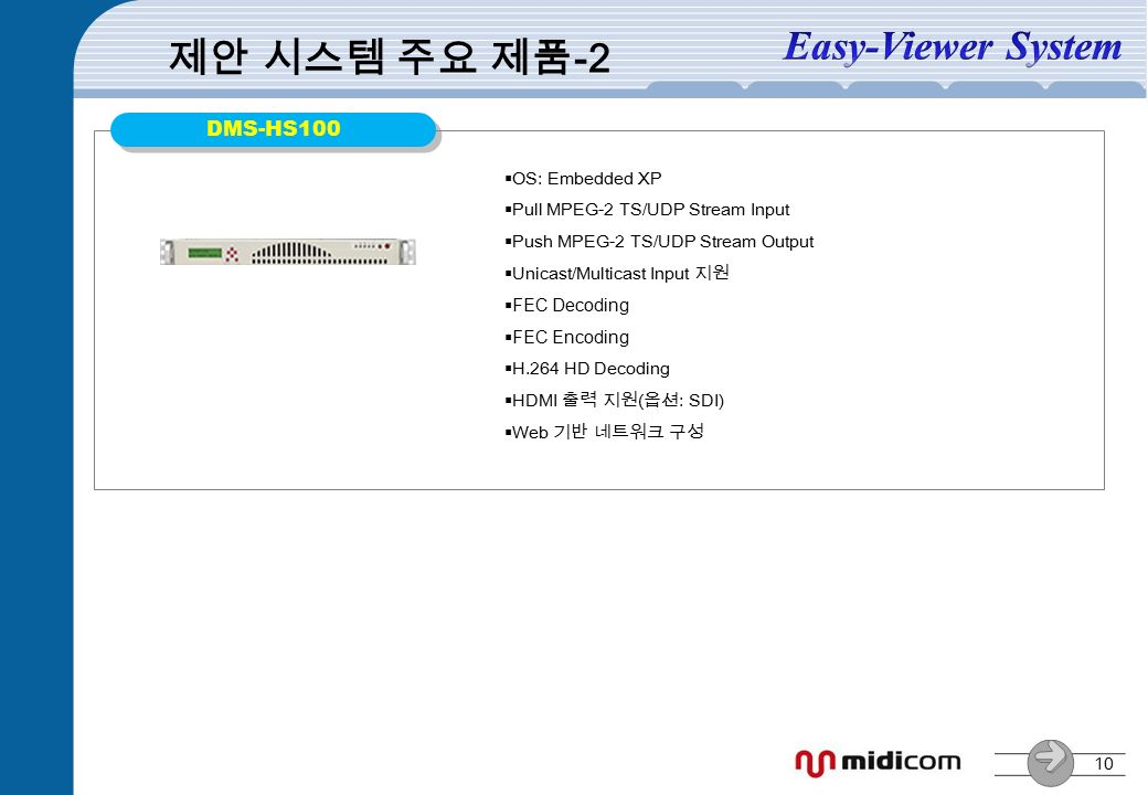10 DMS-HS100  OS: Embedded XP  Pull MPEG-2 TS/UDP Stream Input  Push MPEG-2 TS/UDP Stream Output  Unicast/Multicast Input 지원  FEC Decoding  FEC Encoding  H.264 HD Decoding  HDMI 출력 지원(옵션: SDI)  Web 기반 네트워크 구성 제안 시스템 주요 제품 -2