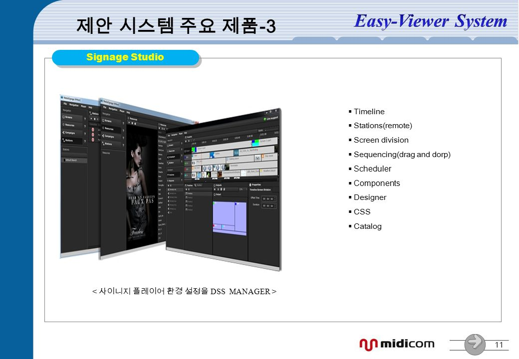 11 Signage Studio 제안 시스템 주요 제품 -3  Timeline  Stations(remote)  Screen division  Sequencing(drag and dorp)  Scheduler  Components  Designer  CSS  Catalog