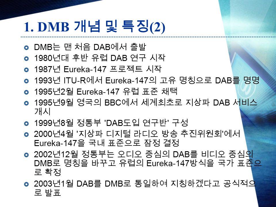  DMB 는 맨 처음 DAB 에서 출발  1980 년대 후반 유럽 DAB 연구 시작  1987 년 Eureka-147 프로젝트 시작  1993 년 ITU-R 에서 Eureka-147 의 고유 명칭으로 DAB 를 명명  1995 년 2 월 Eureka-147 유럽 표준 채택  1995 년 9 월 영국의 BBC 에서 세계최초로 지상파 DAB 서비스 개시  1999 년 8 월 정통부 DAB 도입 연구반 구성  2000 년 4 월 지상파 디지털 라디오 방송 추진위원회 에서 Eureka-147 을 국내 표준으로 잠정 결정  2002 년 12 월 정통부는 오디오 중심의 DAB 를 비디오 중심의 DMB 로 명칭을 바꾸고 유럽의 Eureka-147 방식을 국가 표준으 로 확정  2003 년 1 월 DAB 를 DMB 로 통일하여 지칭하겠다고 공식적으 로 발표 1.