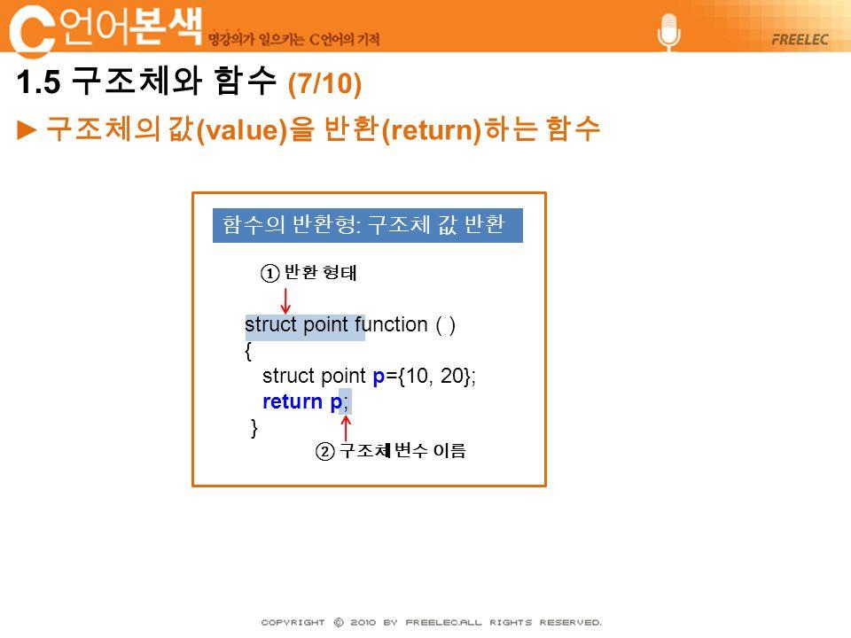 ► 구조체의 값 (value) 을 반환 (return) 하는 함수 struct point function ( ) { struct point p={10, 20}; return p; } 함수의 반환형 : 구조체 값 반환 ① 반환 형태 ② 구조체 변수 이름