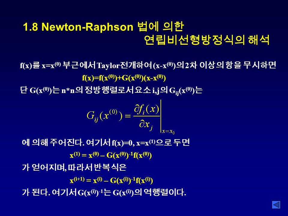 1.8 Newton-Raphson 법에 의한 연립비선형방정식의 해석 f(x) 를 x=x (0) 부근에서 Taylor 전개하여 (x-x (0) ) 의 2 차 이상의 항을 무시하면 f(x)=f(x (0) )+G(x (0) )(x-x (0) ) 단 G(x (0) ) 는 n*n 의 정방행렬로서 요소 i,j 의 G ij (x (0) ) 는 에 의해 주어진다.