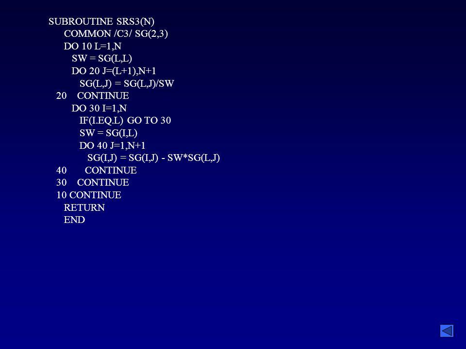 SUBROUTINE SRS3(N) COMMON /C3/ SG(2,3) DO 10 L=1,N SW = SG(L,L) DO 20 J=(L+1),N+1 SG(L,J) = SG(L,J)/SW 20 CONTINUE DO 30 I=1,N IF(I.EQ.L) GO TO 30 SW = SG(I,L) DO 40 J=1,N+1 SG(I,J) = SG(I,J) - SW*SG(L,J) 40 CONTINUE 30 CONTINUE 10 CONTINUE RETURN END