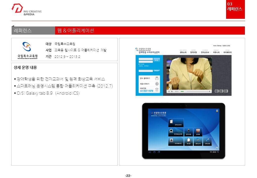 -22- 레퍼런스웹 & 어플리케이션  장애학생을 위한 전자교과서 및 원격 화상교육 서비스  스마트러닝 운영시스템 통합 어플리케이션 구축 (2012.7)  O/S: Galaxy tab 8.9 (Android ICS) 상세 운영 내용 대상 국립특수교육원 사업 교육용 웹사이트 & 어플리케이션 개발 기간 2012.9 ~ 2013.2 03 레퍼런스