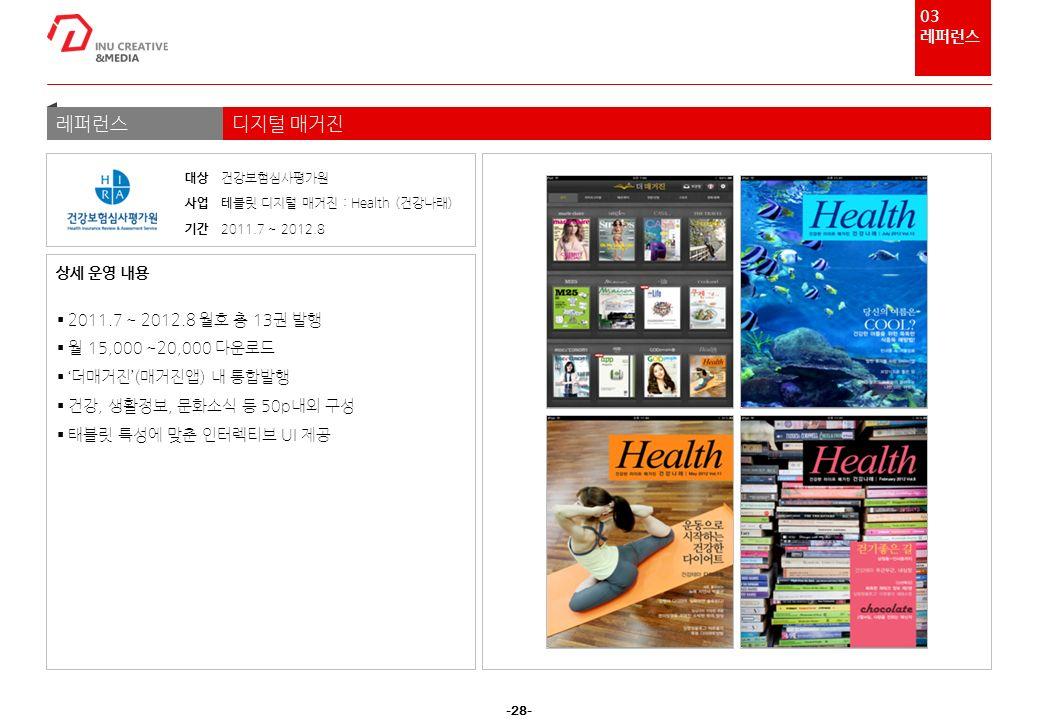 -28- 레퍼런스디지털 매거진  2011.7 ~ 2012.8 월호 총 13권 발행  월 15,000 ~20,000 다운로드  '더매거진'(매거진앱) 내 통합발행  건강, 생활정보, 문화소식 등 50p내외 구성  태블릿 특성에 맞춘 인터렉티브 UI 제공 상세 운영 내용 대상 건강보험심사평가원 사업 테 블릿 디지털 매거진 : Health (건강나래) 기간 2011.7 ~ 2012.8 03 레퍼런스
